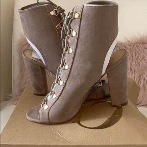 NWT Charlotte Russe Yvette Taupe Lace Up Ankle